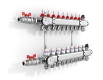 Colector, múltiple, sistema de calefacción stock de ilustración