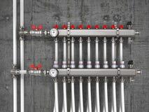 Colector, múltiple, sistema de calefacción para la calefacción por el suelo libre illustration
