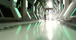 Colegas del negocio que caminan en el pasillo 4k almacen de video