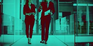 Colegas do negócio que interagem um com o otro ao andar no corredor fotos de stock royalty free