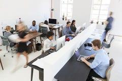 Colegas jovenes en los ordenadores en una oficina abierta ocupada del plan foto de archivo