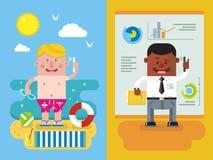 Colegas que chamam das férias para trabalhar ilustração royalty free