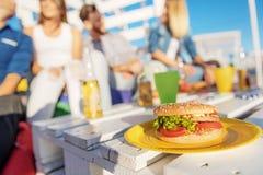 Colegas que se relajan al aire libre con la comida y las bebidas Fotografía de archivo