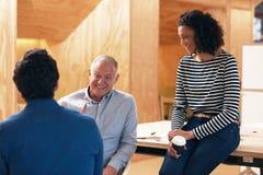 Colegas sonrientes del trabajo que hablan junto en una oficina foto de archivo