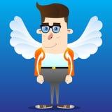 Colegial como ángel, con las alas blancas grandes stock de ilustración