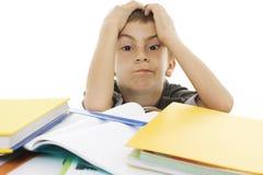 Colegial enojado con dificultades de aprendizaje. Imágenes de archivo libres de regalías