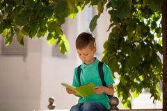 Colegial que se sienta debajo de un árbol y de un libro leído en un día de verano soleado Imagenes de archivo