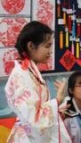 Colegiala adolescente en traje chino Fotografía de archivo