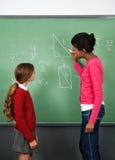 Colegiala de Teaching Mathematics To del profesor de sexo femenino Fotos de archivo libres de regalías