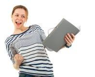 Colegiala del adolescente con el libro de textos Imagen de archivo libre de regalías