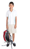 Colegiala en el uniforme escolar y la mochila V Fotografía de archivo libre de regalías