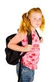 Colegiala feliz lista para ir a la escuela Imagen de archivo