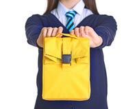 Colegiala linda con el bolso del almuerzo Fotos de archivo libres de regalías