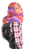 Colegiala musulmán con el bolso de escuela VII Imagen de archivo libre de regalías