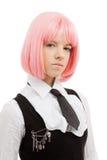 Colegiala preciosa con el pelo rosado Fotografía de archivo libre de regalías