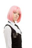 Colegiala preciosa con el pelo rosado Imagen de archivo libre de regalías