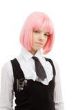 Colegiala preciosa con el pelo rosado Foto de archivo libre de regalías