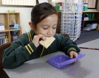 Colegiala que come su almuerzo. Fotografía de archivo