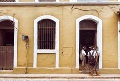 Colegialas que hablan delante de la construcción de escuelas vieja en ciudad india histórica Foto de archivo libre de regalías