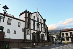 Colegio`s church Saint John the Evangelist in Funchal, Madeira. Portugal. It is one of the most beautiful 17th century monuments. Its construction represents Stock Photos