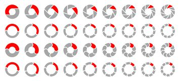 Set Of Different Pie Charts Arrows Gray And Red. Colelction Of Different Pie Charts Arrows Gray And Red vector illustration
