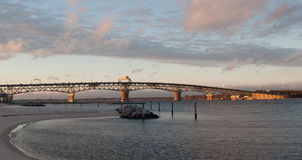 Coleman Bridge. Covering the Yorktown Gloucester area by sunset Royalty Free Stock Photos