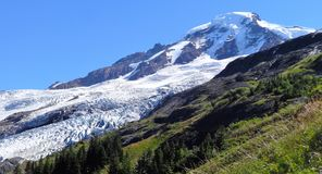 Coleman Glacier on Mount Baker. The view of Coleman Glacier on Mount Baker from Heliotrope Ridge Stock Photo