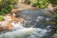 Coleman River se une a Tallulah River en el bosque del Estado de Chattahoochee imagen de archivo