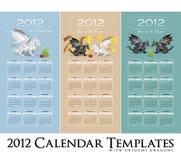 Coleção 2012 do calendário com dragões estilizados Fotos de Stock Royalty Free