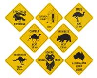 Coleção australiana dos sinais de estrada Fotografia de Stock