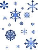 Coleção azul dos flocos de neve Fotos de Stock