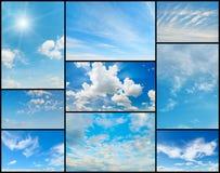 Coleção bonita das nuvens no céu azul Foto de Stock Royalty Free