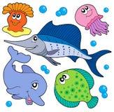 Coleção bonito 2 dos animais marinhos Fotos de Stock