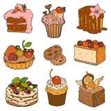Coleção colorida de pastelarias doces Bolos, queques e chees Imagem de Stock Royalty Free