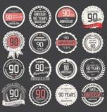 Coleção da etiqueta do aniversário, 90 anos Fotografia de Stock Royalty Free