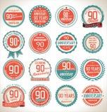 Coleção da etiqueta do aniversário, 90 anos Fotografia de Stock
