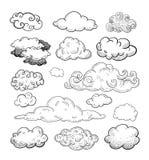 Coleção da garatuja de nuvens tiradas mão do vetor Fotografia de Stock