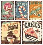 Coleção da loja dos doces do vintage de sinais da lata Fotografia de Stock