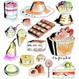 Coleção da sobremesa Fotografia de Stock