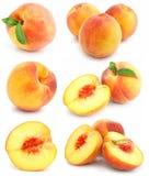 Coleção das frutas frescas do pêssego isoladas Imagens de Stock Royalty Free