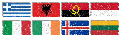 Coleção de bandeiras artísticas do mundo isolado Imagens de Stock