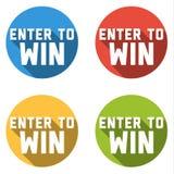 A coleção de 4 botões coloridos lisos com ENTRA PARA GANHAR o texto Imagem de Stock