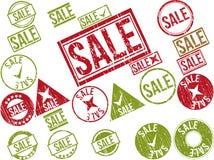 Coleção de 22 carimbos de borracha vermelhos do grunge com texto Imagens de Stock