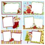 Coleção de cartões de cumprimentos do Natal Fotos de Stock Royalty Free