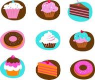 Coleção de ícones da pastelaria Foto de Stock Royalty Free