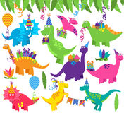 Coleção de dinossauros da festa de anos ou do partido do vetor Fotografia de Stock