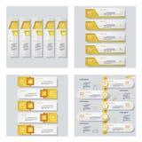 Coleção de 4 disposições amarelas do molde/gráfico ou do Web site da cor Fundo do vetor Foto de Stock