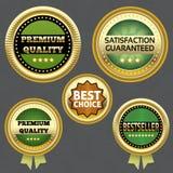 Coleção de etiquetas superiores da qualidade e da garantia Foto de Stock