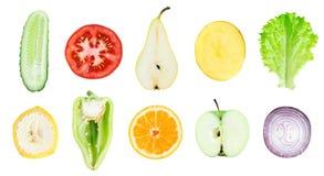 Coleção de fatias frescas das frutas e legumes Foto de Stock