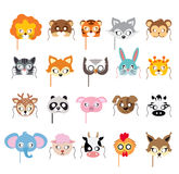 Coleção de máscaras animais diferentes nas caras Imagem de Stock Royalty Free